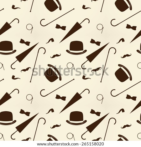 Retro gentleman elements - bowler, mustache, tobacco pipe monocle, cane and umbrella seamless pattern. - stock vector