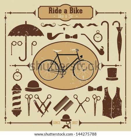 Retro Gentleman Set of Vintage Hipster Collection - stock vector
