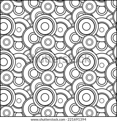 Retro geometric abstract seamless pattern in black and white circles - stock vector