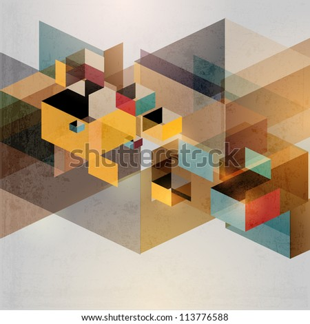 Retro geometric background - stock vector