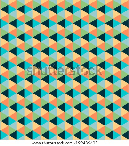 Retro geometric pattern with squares and cubes / vintage seamless pattern / background