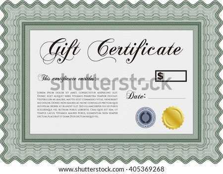 Retro Gift Certificate. With background. Cordial design. Customizable, Easy to edit and change colors.  - stock vector