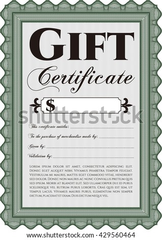 Retro Gift Certificate. With background. Customizable, Easy to edit and change colors. Cordial design.  - stock vector