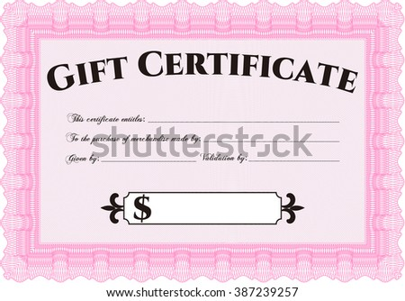 Retro Gift Certificate. With background. Customizable, Easy to edit and change colors. Good design.