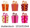 Retro gifts set isolated on white - stock photo