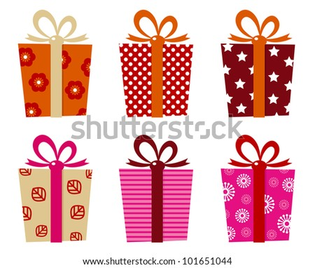 Retro gifts set isolated on white - stock vector