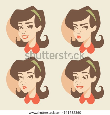 Retro girl / emotions icons - stock vector