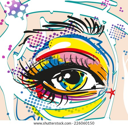 Retro girl Eye in pop art style - stock vector