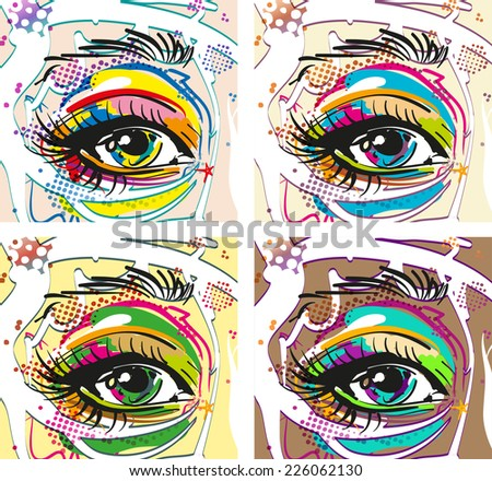 Retro girl Eyes in pop art style - stock vector
