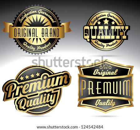 retro golden quality labels with crowns - stock vector