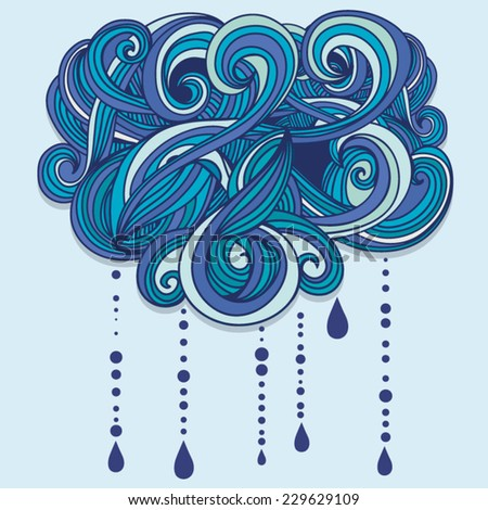 Retro Graphic Cloud Rain Symbol Background Stock Vector 229629109