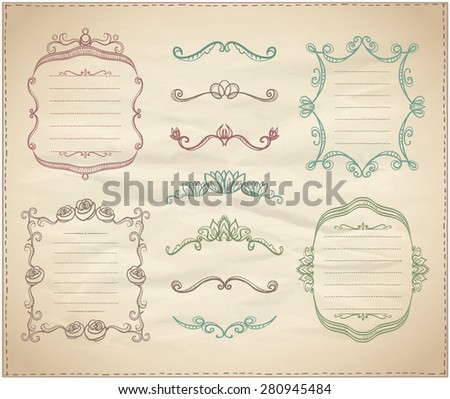 Retro graphic line elements, dividers and monogram frames set on a paper - stock vector