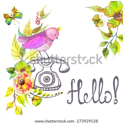 Retro graphic phone and watercolor flowers and text - Hello, green beautiful floral background, Vector - stock vector