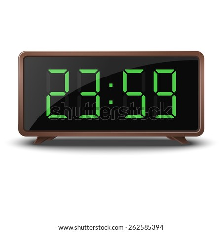 Retro green digital clock - stock vector