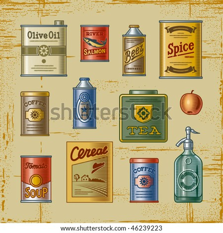 Retro grocery set. Vector - stock vector