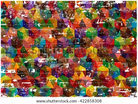 Retro Grunge Background.Color Vector Grunge background with Bright Symmetrical Cubes. - stock vector