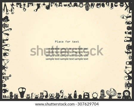 Retro grunge frame with monsters and place for text. Vintage frame, grunge paper, cartoon monsters. vector illustration - stock vector