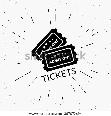 Retro grunge illustration of two black tickets. Hipster style icon with sunburst isolated on white background. - stock vector