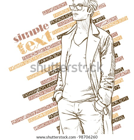 Retro grunge poster with stylish guy in a coat. Place for your text - stock vector
