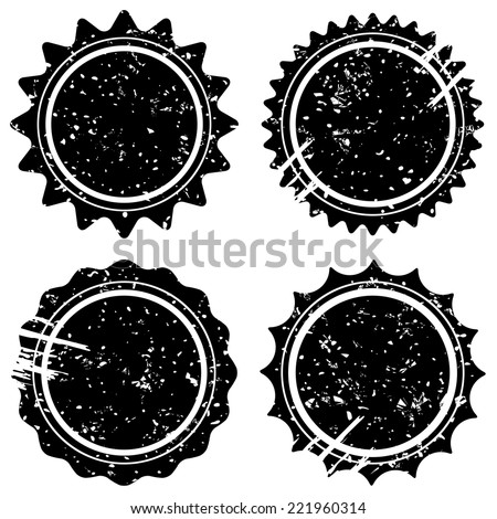 Retro grunge stamps and badges. Classic vintage stars symbols with scuff and scrapes. Vector