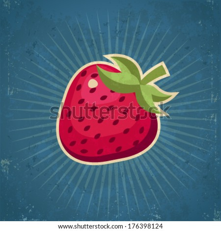 Retro grunge strawberry illustration