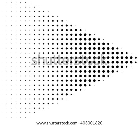 Retro halftone dots arrow over white background
