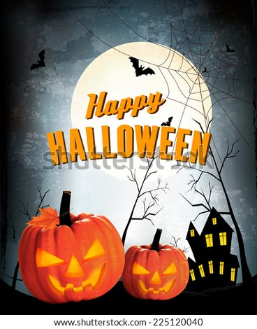 Retro Halloween night background with two pumpkins. Vector - stock vector