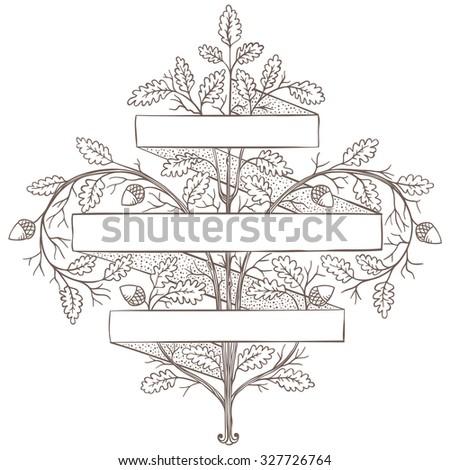 Retro hand draw decorative oak branch with ribbon. Vintage vector design - stock vector