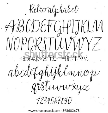 Retro Hand Drawn Alphabet. Script Painted Letters. Handwritten Script Alphabet. Hand Lettering and Custom Typography For Your Designs: Logo, For Posters, Invitations, Cards, etc. Vector Typography. - stock vector
