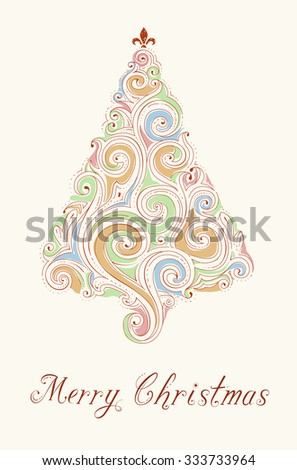 "Retro hand drawn Christmas greeting card ""Merry Christmas"". Abstract vector illustration. Colored doodle Christmas tree on white background."