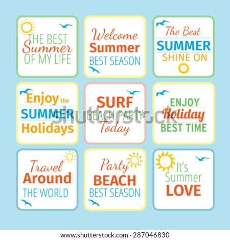 Retro hand drawn elements for Summer calligraphic designs - stock vector