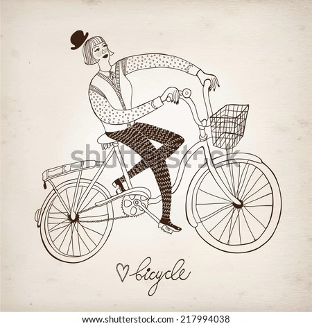 Retro hand drawn woman on a bicycle on paper background. - stock vector