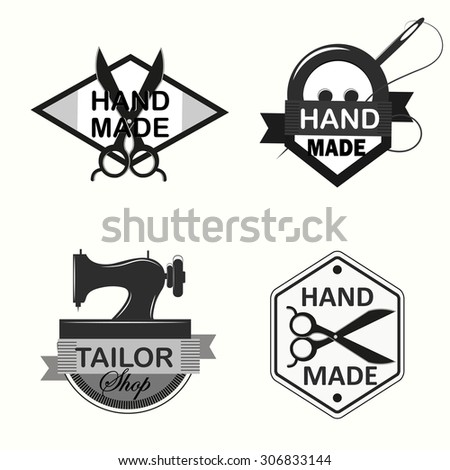 Retro Handmade, hand sewing and tailor shop logotypes set. - stock vector