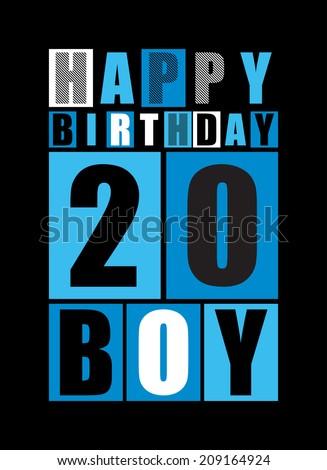 Retro Happy birthday card. Happy birthday boy 20 years. Gift card. Vector illustration - stock vector