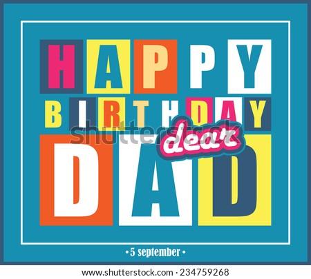 Retro Happy birthday card.Happy birthday dear dad. Vector illustration - stock vector