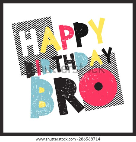 Retro Happy birthday card. Vector illustration