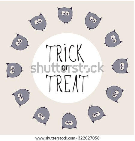 Retro Happy Halloween Badge, Sticker, Label. Design Element for Greetings Card or Party. Vector Illustration. Stylizes cartoon violet funny owls. Trick or Treat Concept - stock vector