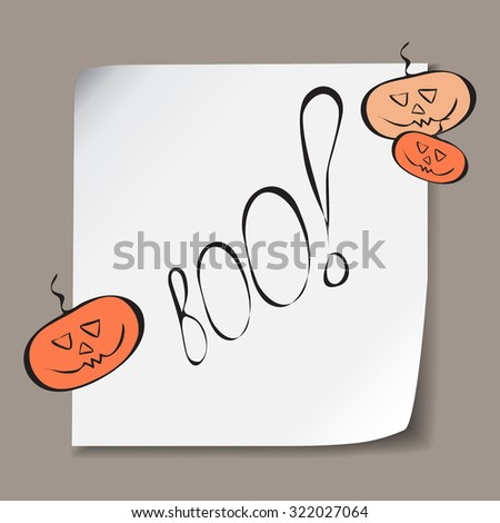 Retro Happy Halloween Badge, Sticker, Label. Design Element for Greetings Card or Party. Vector Illustration. Stylized cartoon orange funny pumpkins - stock vector