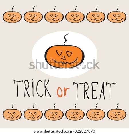Retro Happy Halloween Badge, Sticker, Label. Design Element for Greetings Card or Party. Vector Illustration. Stylized cartoon orange funny pumpkins. Trick or Treat Concept - stock vector