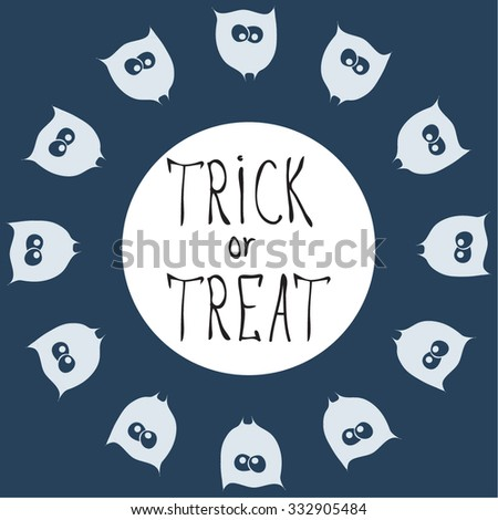 Retro Happy Halloween Badge, Sticker, Label. Design Element for Greetings Card or Party. Vector Illustration birds. Stylized cartoon blue owls. Trick or Treat Concept. festive items for halloween - stock vector