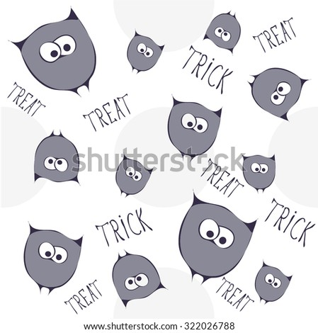 Retro Happy Halloween seamless pattern. Vector Illustration. Stylized cartoon violet funny owls with text. Trick or Treat Concept - stock vector
