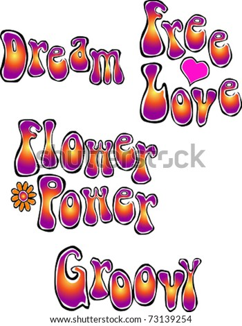 Retro Happy Hippie Set of Flower Power Groovy Words Vector Illustration - stock vector
