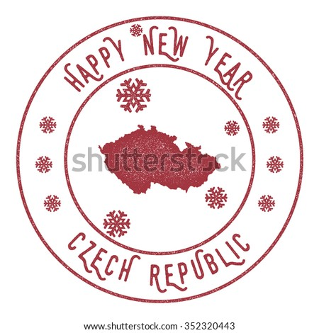 Retro Happy New Year Czech Republic Stamp. Vector rubber stamp with map of Czech Republic, Happy New Year text and falling snow