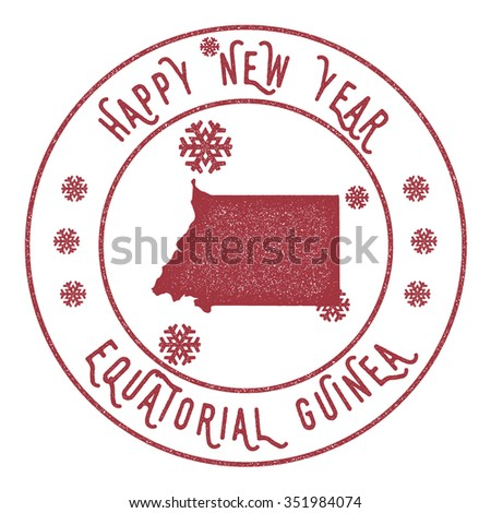 Retro Happy New Year Equatorial Guinea Stamp. Vector rubber stamp with map of Equatorial Guinea, Happy New Year text and falling snow