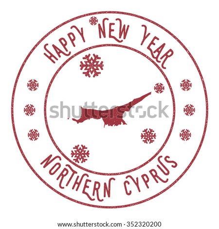 Retro Happy New Year Northern Cyprus Stamp. Vector rubber stamp with map of Northern Cyprus, Happy New Year text and falling snow
