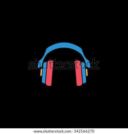Retro headphone. Color vector icon on black background - stock vector