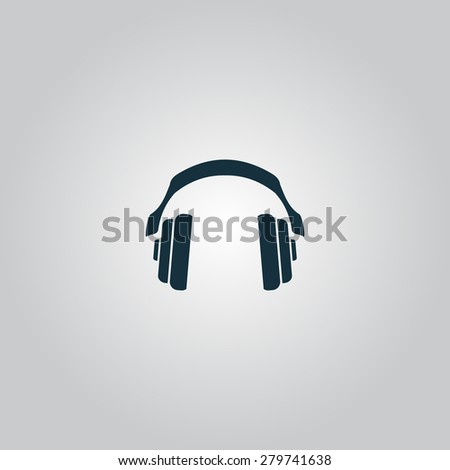 Retro headphone. Flat web icon or sign isolated on grey background. Collection modern trend concept design style vector illustration symbol - stock vector