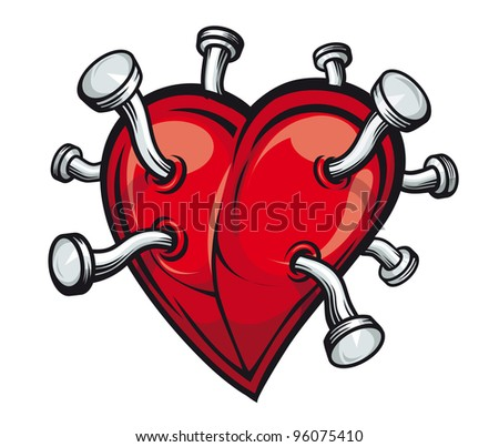 Retro heart with bent nails for tattoo or mascot design. Jpeg version also available in gallery. - stock vector