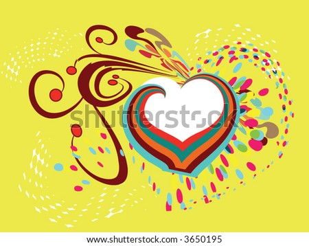 retro heart with ornament and colorful halftone pattern - stock vector