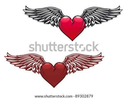 Real Heart Tattoo With Wings